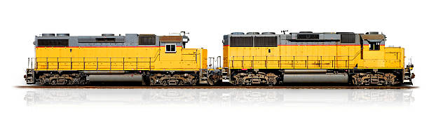 yellow freight train (clipping path) - 火車頭 個照片及圖片檔