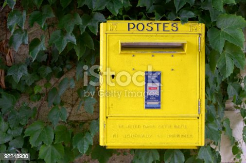 istock Yellow French post box on wall, chateau de chenonceau 92248930