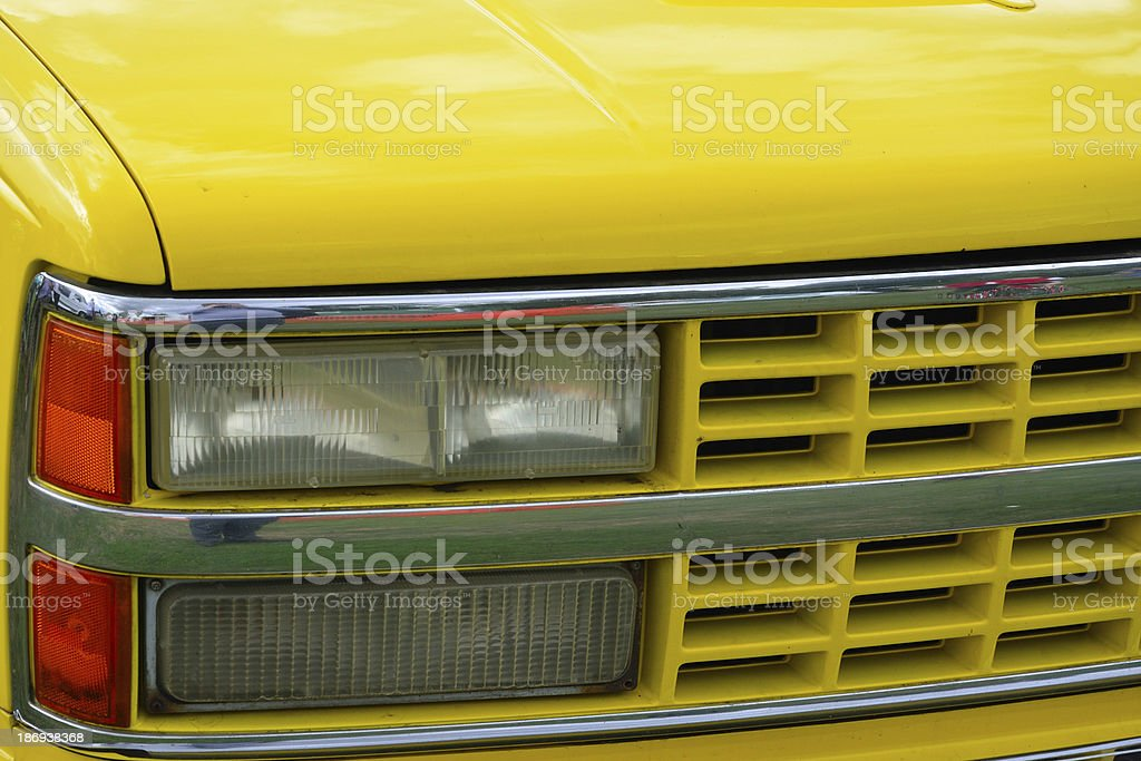 Yellow Front of car with head lights royalty-free stock photo