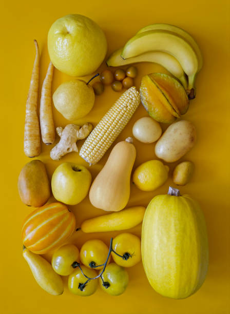 Yellow fruits and vegetables - foto stock