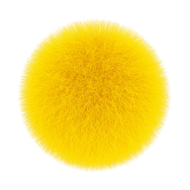 Yellow Fur Hair Ball. 3d Rendering stock photo