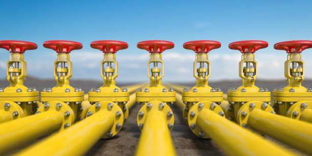 Gelbe Rohr Linie Gasventile. Öl und Gas Gewinnung, Produktion und Transport Industrieerfahrung. – Foto