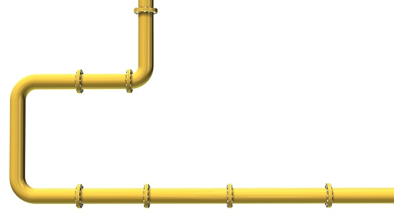 Yellow gas pipeline isolated on white