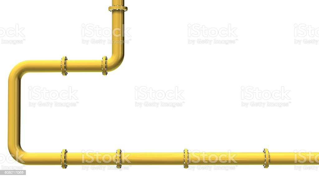 Yellow gas pipeline isolated on white – Foto
