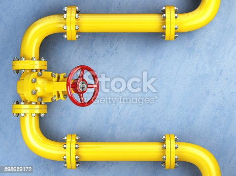 Yellow gas pipeline valve on a blue wall. Space for text. 3d illustration