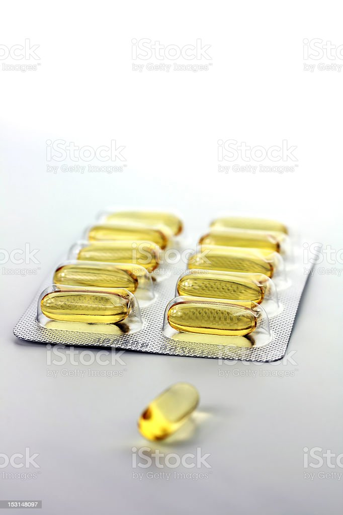 yellow gel pills blister royalty-free stock photo