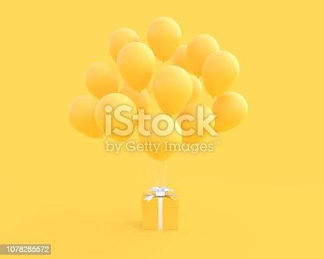 istock Yellow gift box and balloon on yellow background 1078285572