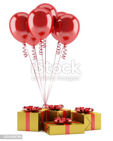 1085249444 istock photo yellow gift boxes with red ribbons and balloons isolated on white background 1004089288