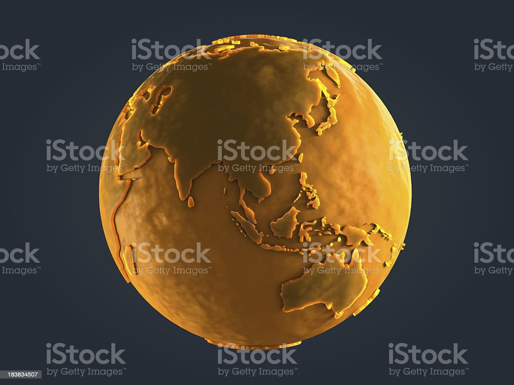 Yellow Globe Statue stock photo