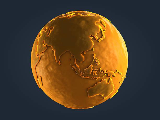 Yellow Globe Statue stock photo