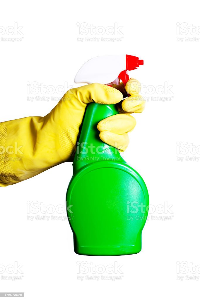 yellow glove and cleaning spray royalty-free stock photo