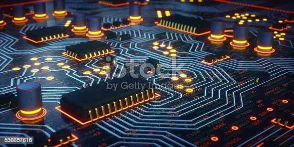 istock Yellow Glowing Circuit Board Close-Up 536657616