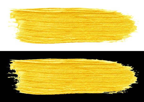 gelb goldfarbener doodle-abstrichpinsel - kunst 1. klasse stock-fotos und bilder