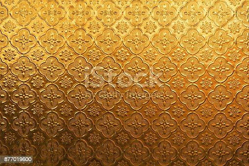 istock Yellow gold Flower vintage glass for abstract texture and background 877019600