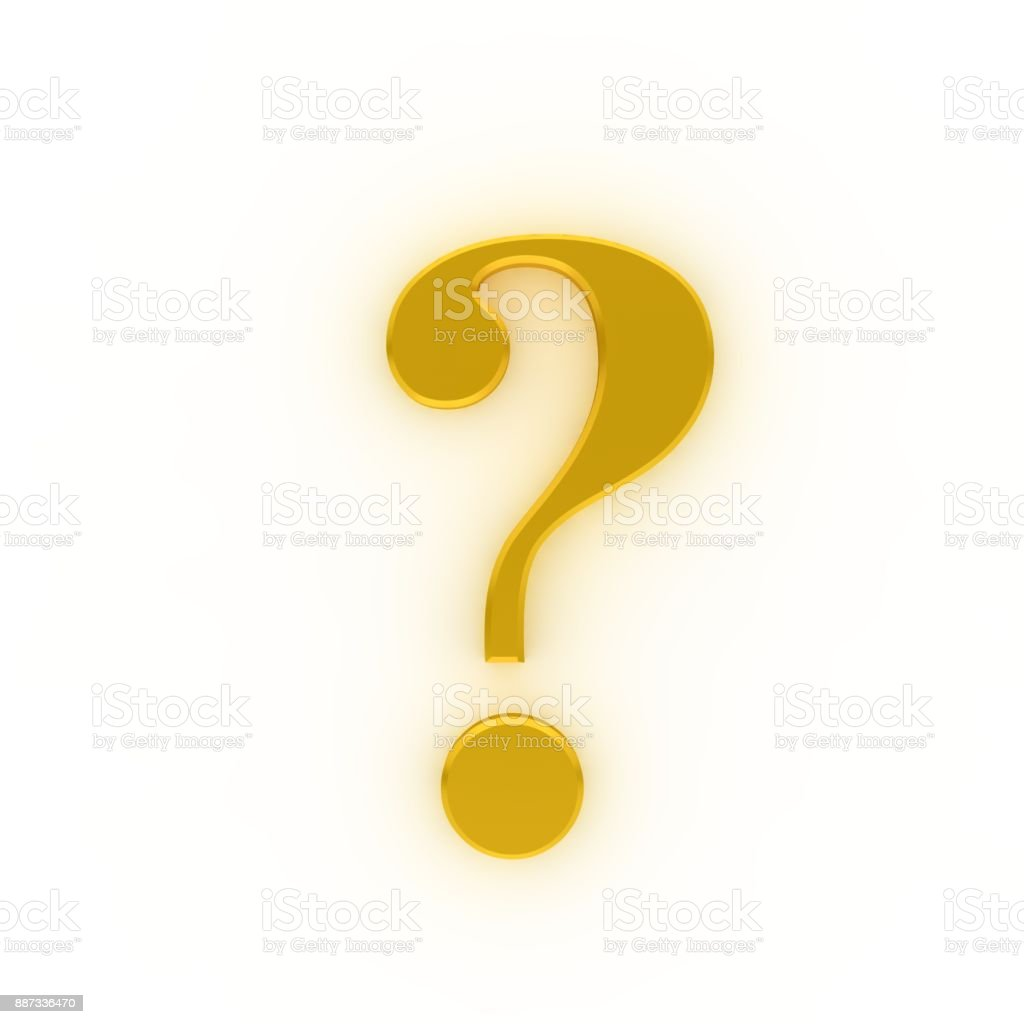 Yellow Gold Glowing Question Mark Interrogation Sign 3d Query Sign