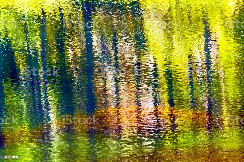 Yellow Gold Summer Water Reflection Abstract Wenatchee River Washington foto royalty-free