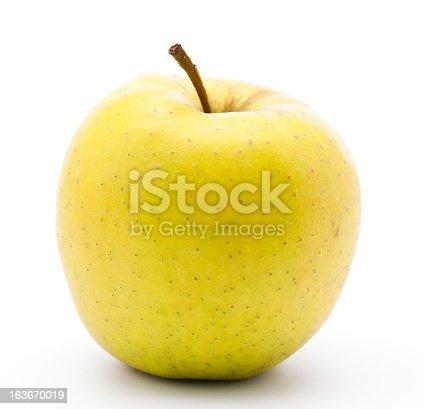 Yello apple on white background