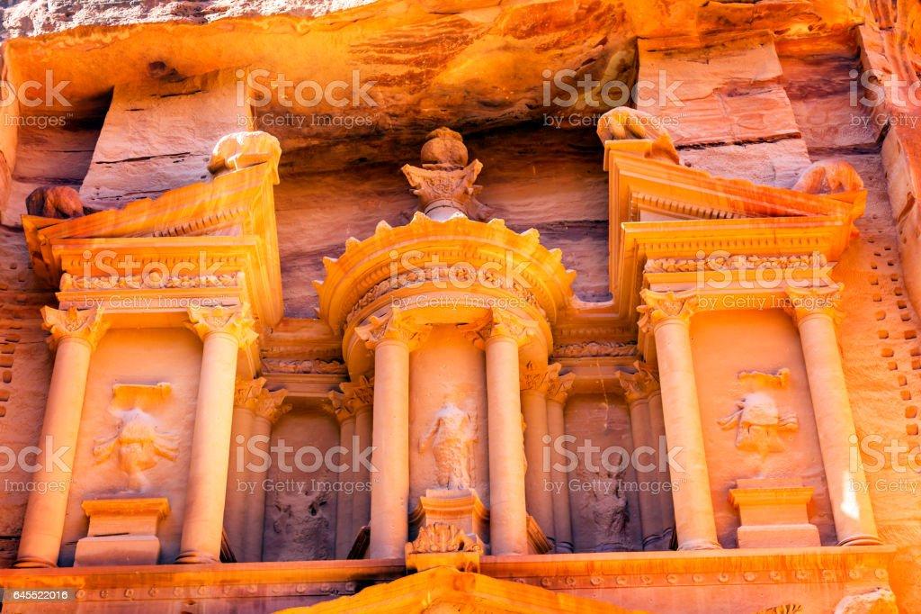 Yellow Golden Treasury Morning Siq Petra Jordan stock photo