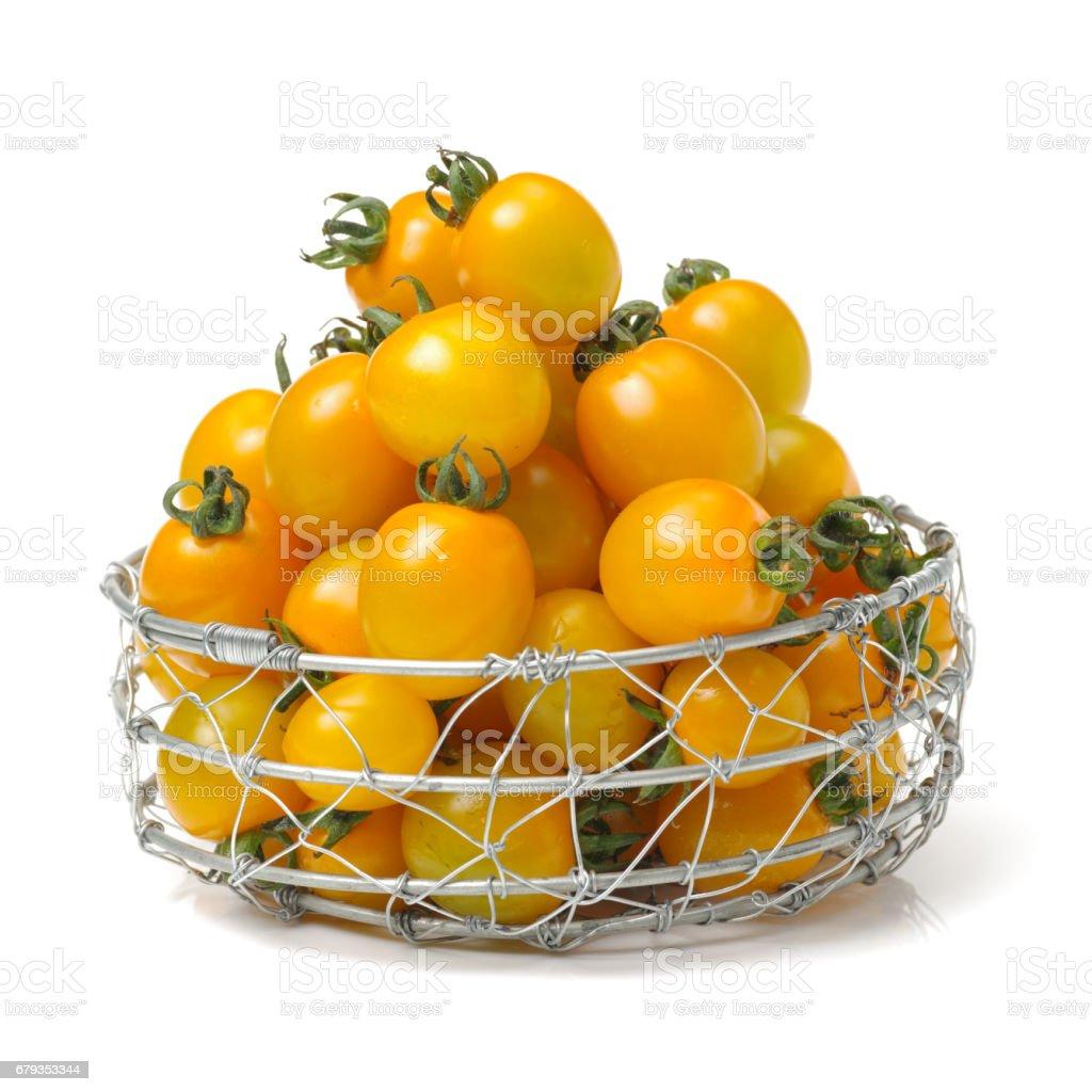 Yellow grape tomato  isolated on white background royalty-free stock photo