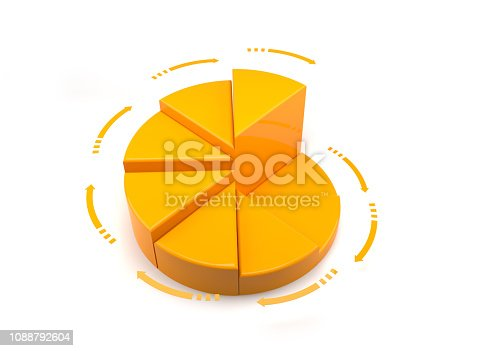 istock Yellow graph bar on white 1088792604