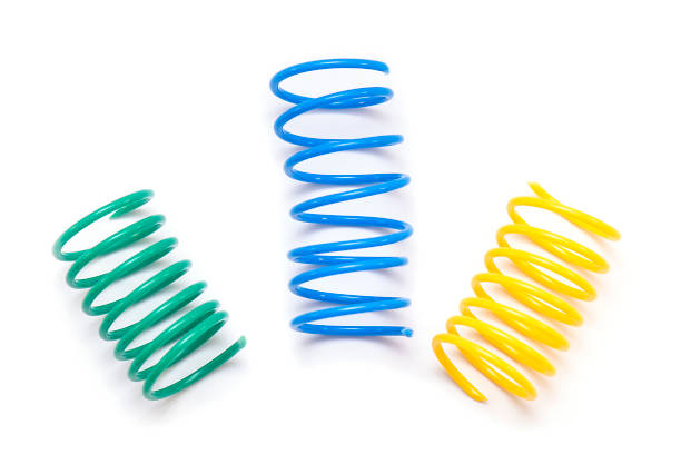 Yellow, Green and Blue plastic Spring Toy or Spirals isolated on white Background Yellow, Green and Blue plastic Spring Toy or Spirals isolated on white Background amortize stock pictures, royalty-free photos & images