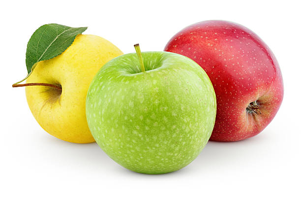 yellow, green and red apples isolated on white - apple fruit stock photos and pictures