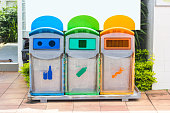 istock Yellow, green, blue recycle bins with recycle symbol in the park. 969740556