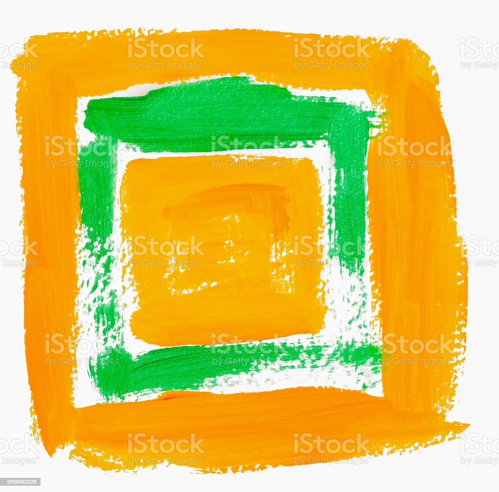 Yellow green bright painted square stock photo