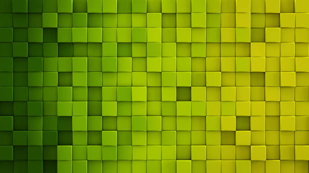 Yellow green gradient cubes 3D render Yellow green gradient extruded cubes mosaic. Geometric 3D render illustration. Computer generated abstract background protruding stock pictures, royalty-free photos & images