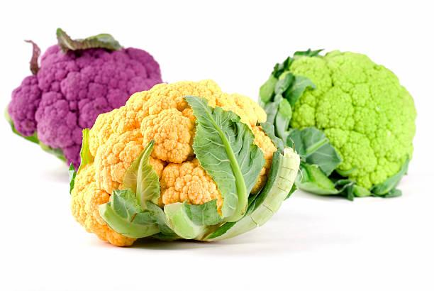 Yellow Green Purple Cauliflower bildbanksfoto
