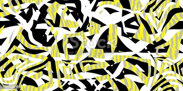 istock Yellow Grey Seamless Prickly Scraps Background. Sharp Angular Shapes on Monochrome Texture. Prickly Contrast Ragged Flaps Backdrop. 943408764