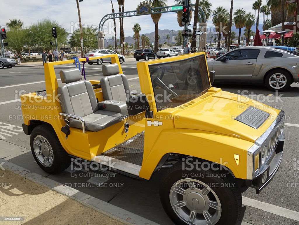 Yellow H3 Mini Hummer SUV royalty-free stock photo