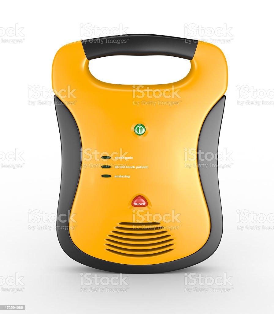 A yellow handheld defibrillator stock photo