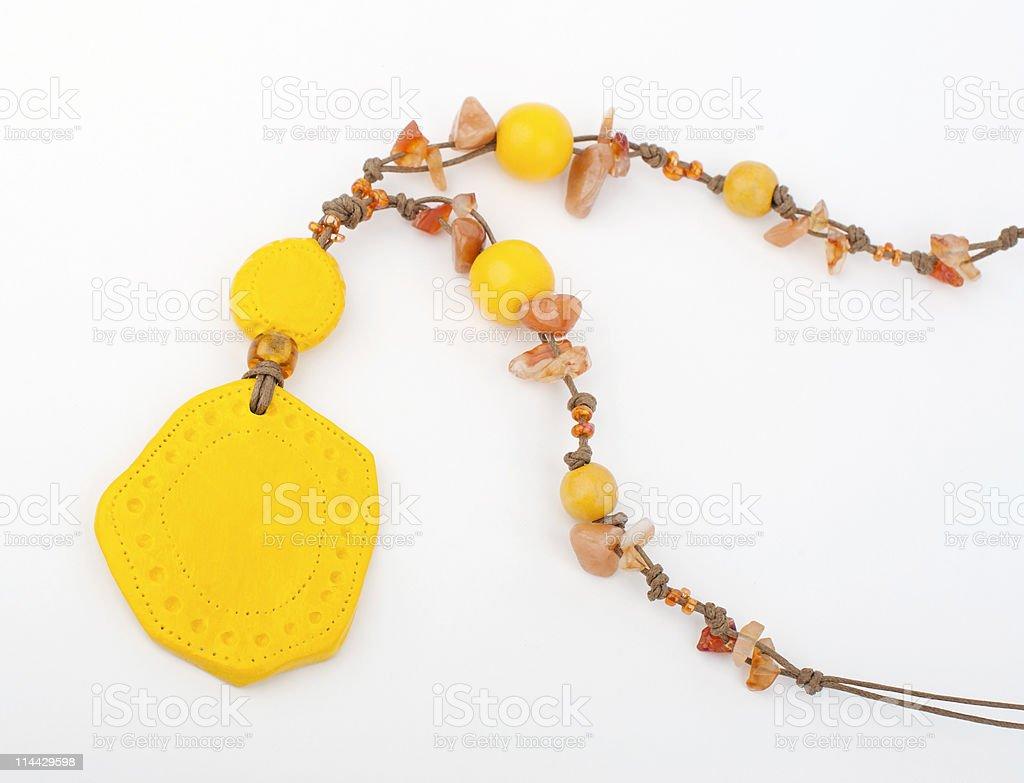 Yellow Handmade Necklace royalty-free stock photo