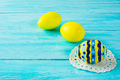 Yellow hand-painted Easter eggs