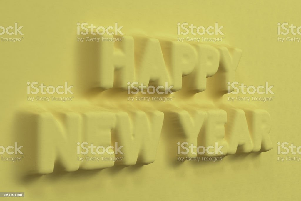 Yellow Happy New Year words bas-relief royalty-free stock photo