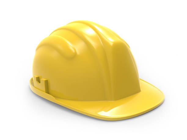 yellow hard hat 3d illustration - foto stock