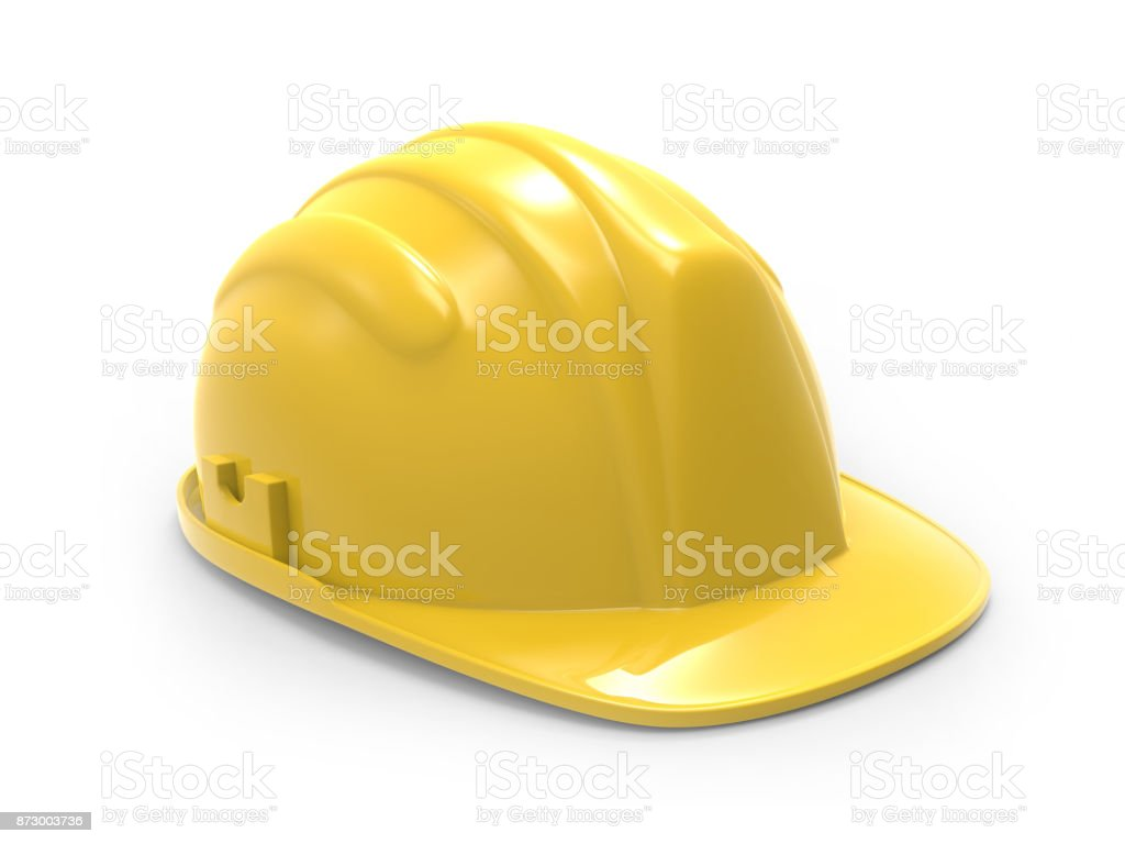 yellow hard hat  illustration on a white background 3d rendering stock photo