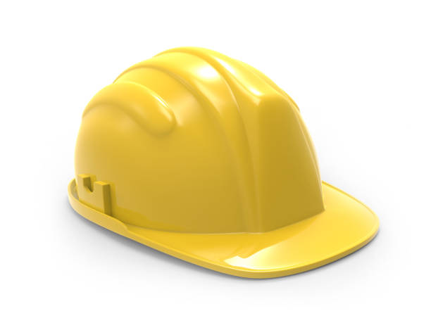 yellow hard hat  illustration on a white background 3d rendering - under construction icon foto e immagini stock
