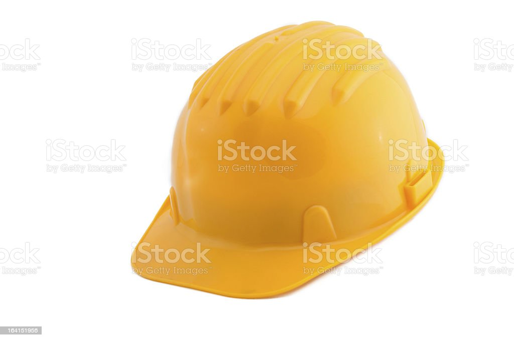 Yellow hard hat isolated on white royalty-free stock photo