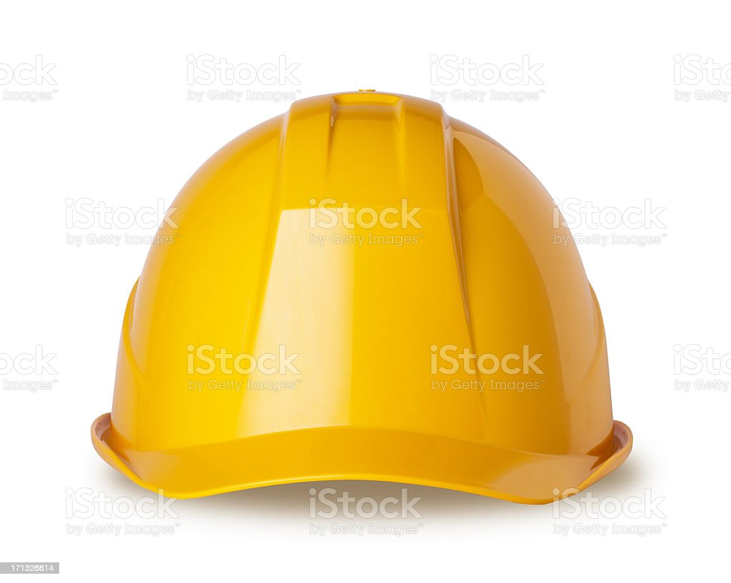 Yellow hard hat on white with clipping path stock photo