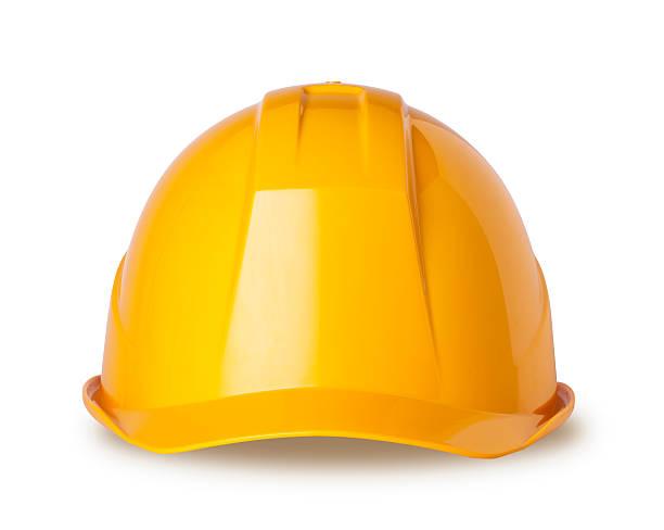 jaune casque sur blanc avec un tracé de détourage - objet jaune photos et images de collection