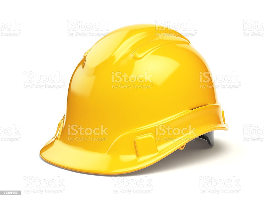 Yellow hard hat, safety helmet isolated on white stock photo