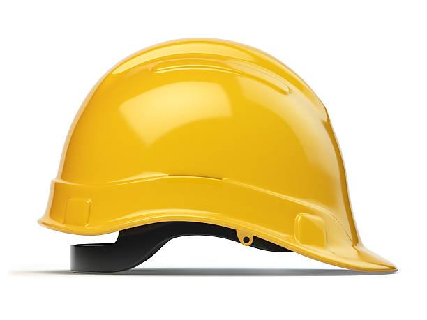 Yellow hard hat, safety helmet isolated on white stock photo