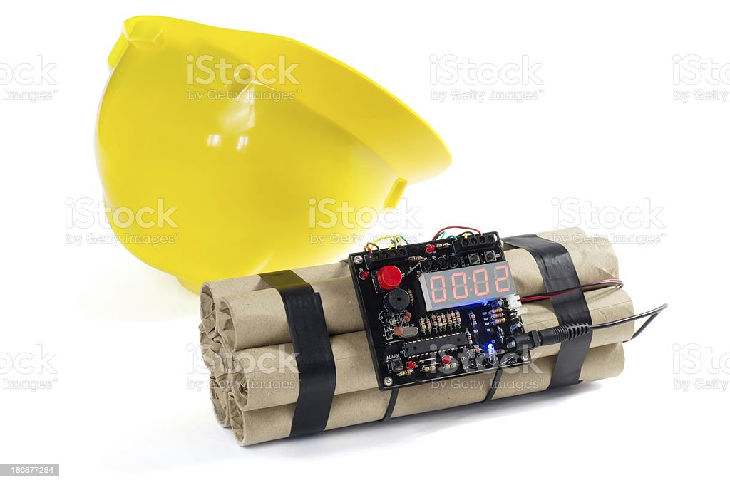 Yellow Hardhat and Time Bomb royalty-free stock photo