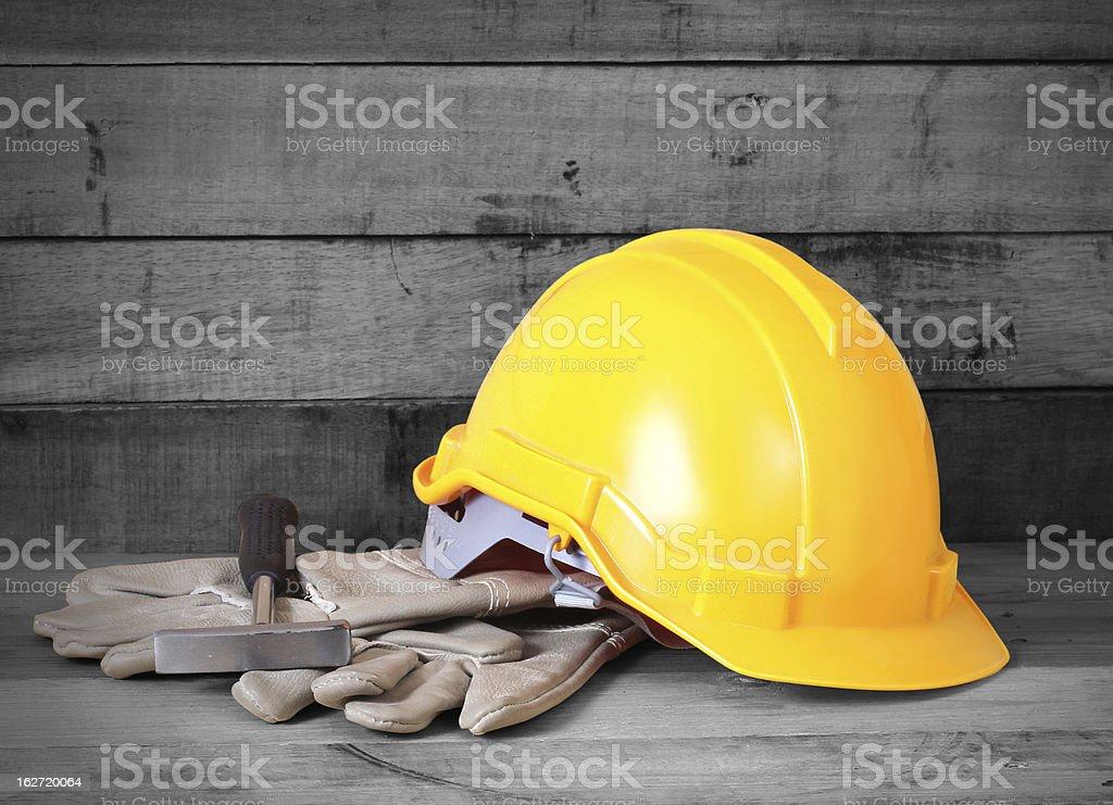 Yellow hardhat stock photo
