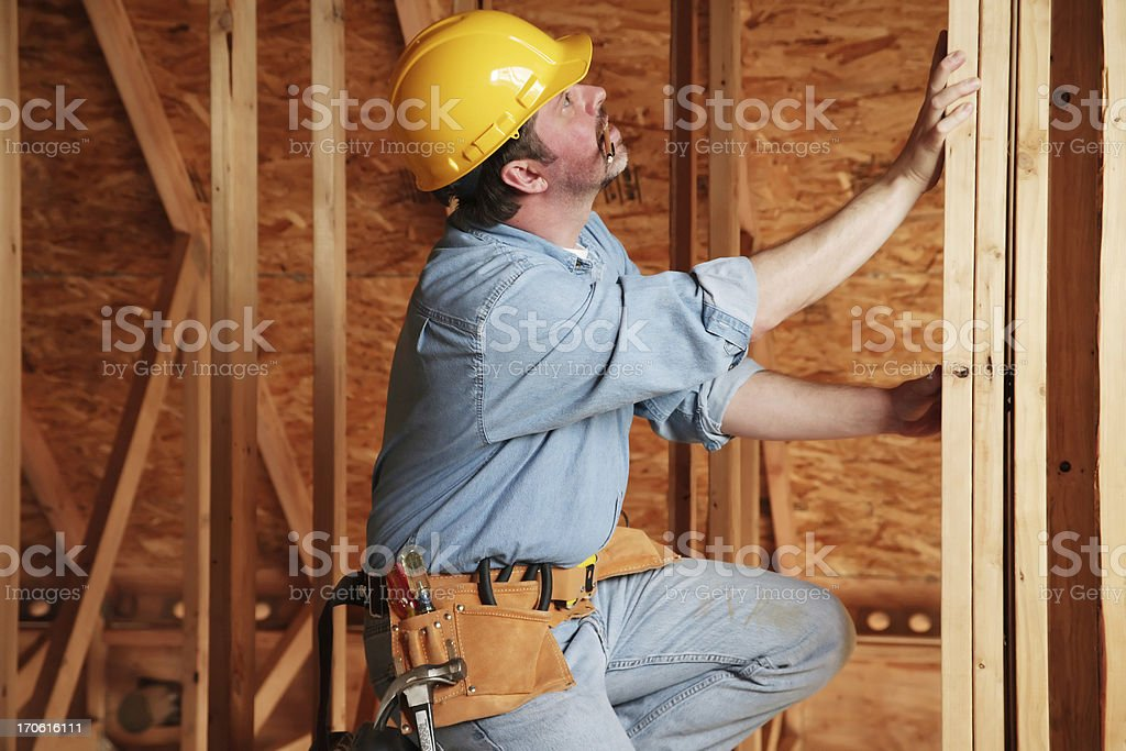 Yellow hardhat worker royalty-free stock photo