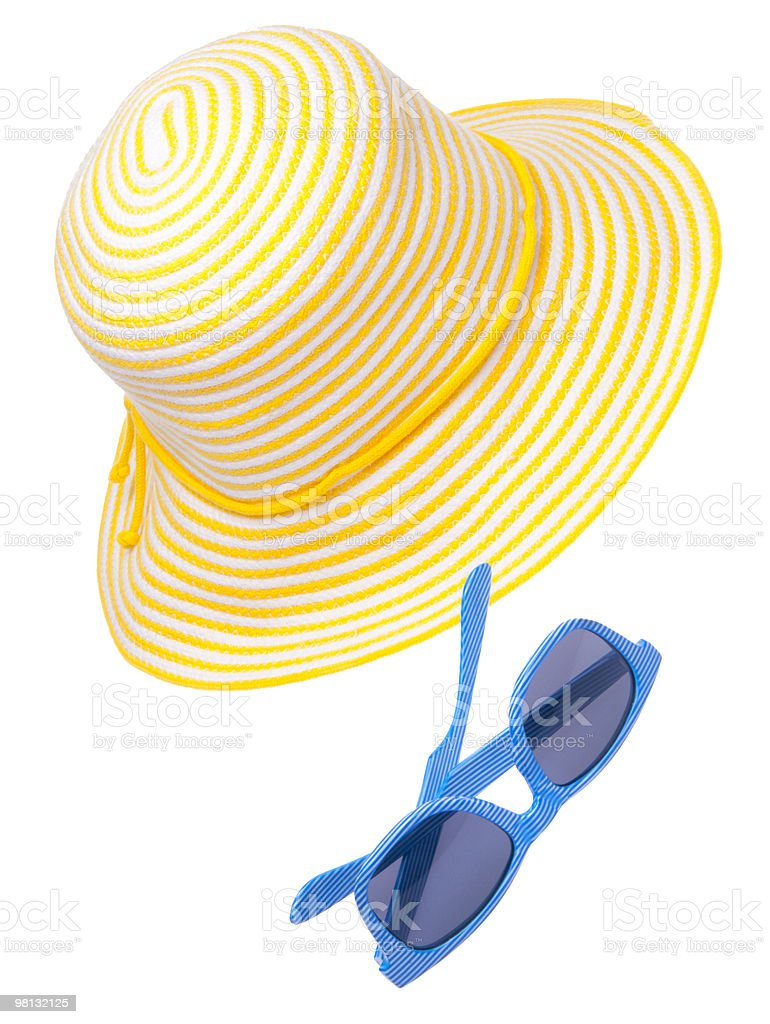 Yellow Hat with Blue Sunglasses royalty-free stock photo