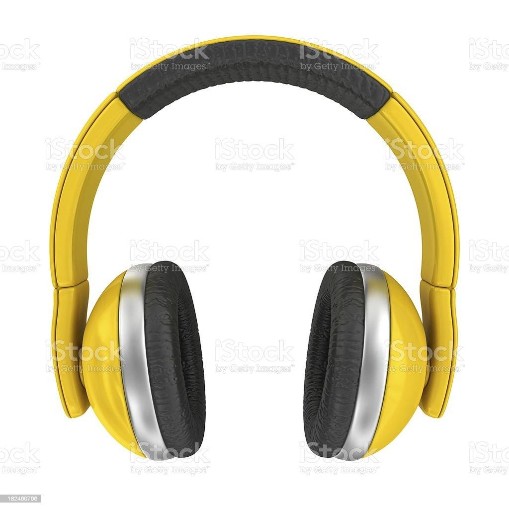 yellow headphones royalty-free stock photo