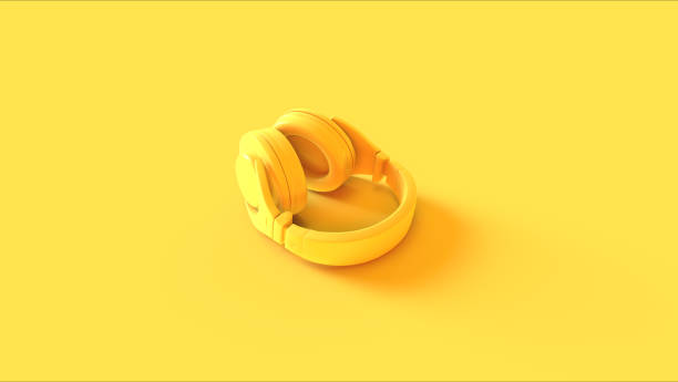 yellow headphones - man made object stock photos and pictures